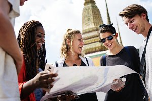 Young traveling backpackers