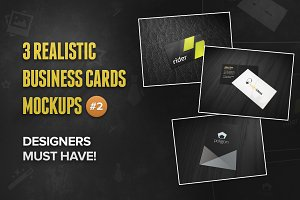 3 Realistic Business Card Mockups #2