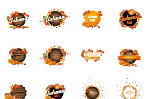 Set of Vector Autumn Label Design