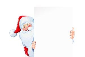 Santa Claus hold  paper sheet