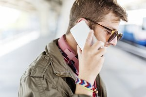 Man Talking With Mobile Phone
