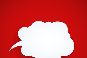 Speech bubble at red background.