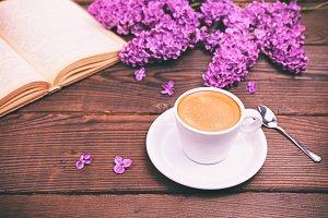 Espresso coffee in a white cup