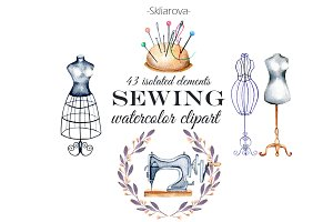Sewing. Watercolor clipart