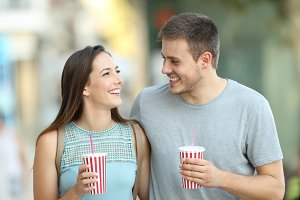 Happy couple flirting