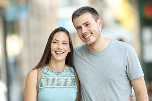Portrait of a happy couple walking