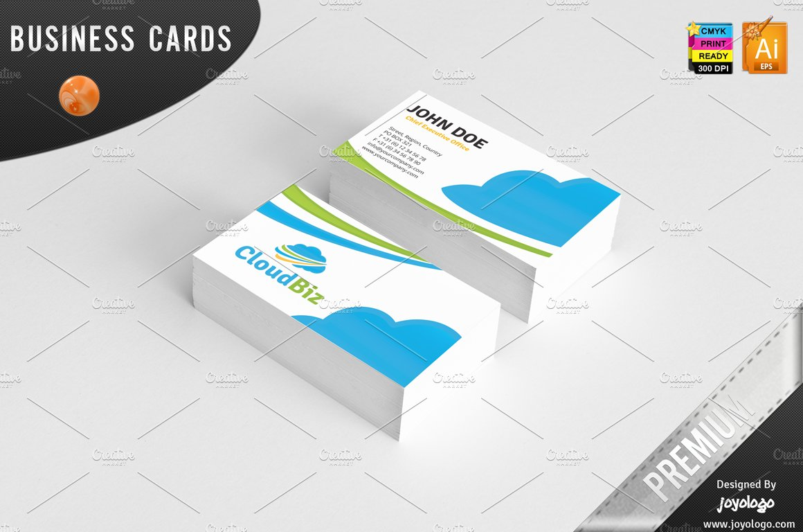 IT Cloud Service Business Cards ~ Business Card Templates ~ Creative ...