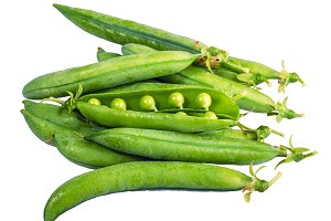 Green pea pods isolated