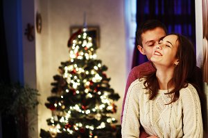 young couple Christmas