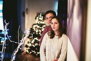 young couple Christmas