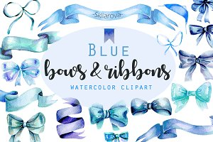 Blue Bows & Ribbons clipart