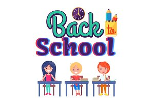 Back to School Poster with Stationary and Pupils