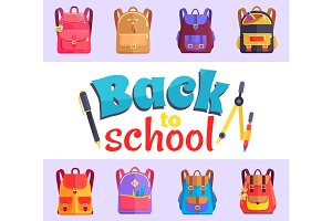 Back to My School Cartoon Style Sticker with Bags