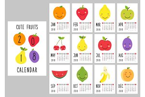 Cute 2018 calendar pages with smiling fruit characters and retro hand written thin font