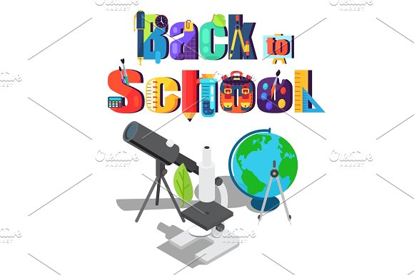 Back to School Sticker with Scientific Objects