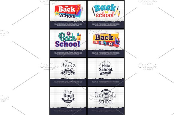 Collection of School-Related Cartoon Stickers