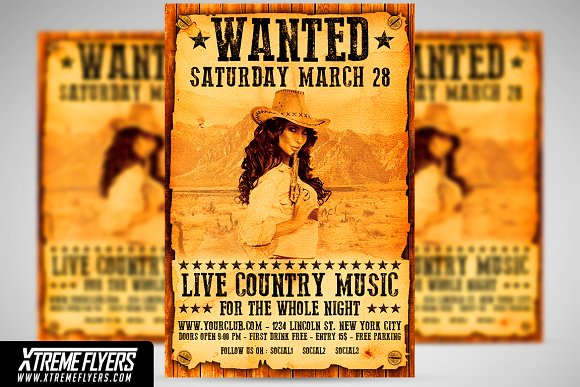 country wanted flyer template flyer templates creative market