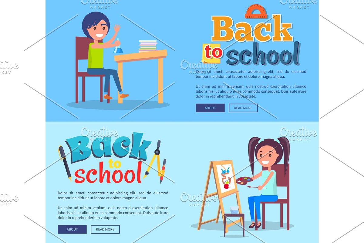 Back to School Poster Set with Girl and Boy Vector in Illustrations