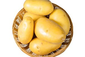 Basket of white potatoes isolated