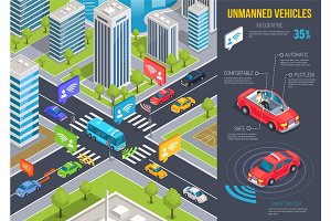 Modern Unmanned Vehicles Infographic and Cityscape