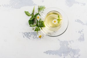 Herbal tea with herbs and flowers