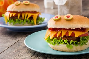 Halloween burger monsters