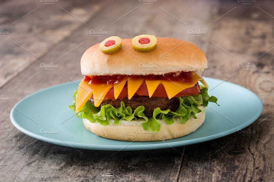 Halloween burger monsters ~ Holiday Photos ~ Creative Market
