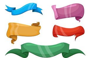 Cartoon comic ribbons vector set
