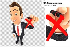 3D Businessman Drawing Red Cross