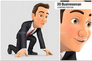 3D Businessman in Starting Position