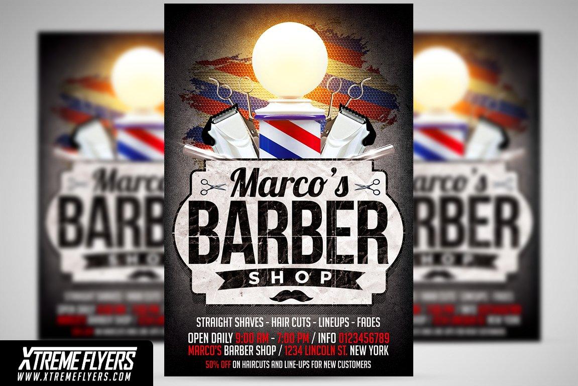 Barbershop Flyer Template Templates Creative Market