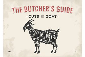 Cut of meat set. Poster Butcher diagram, scheme - Goat