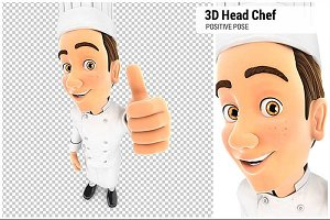3D Head Chef Positive Pose