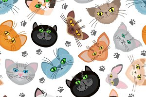 Cat face vector background