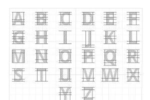 Drafting paper alphabet