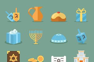 Jewish flat icons
