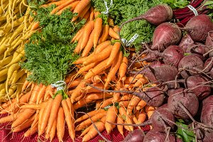Carrots and beets at the market