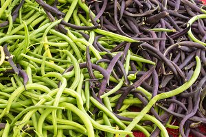 Green snap beans at the market