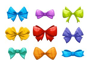 Cartoon gift bow with ribbon