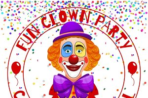 Fun clowns party invitation