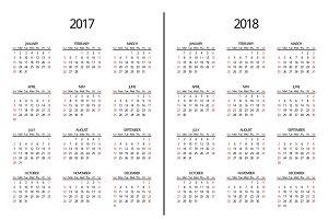 2017 year and 2018 year calendar
