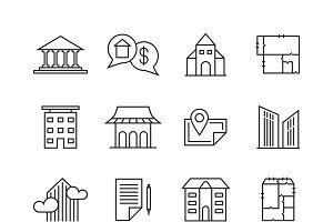 Commercial real estate linear icons