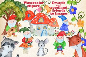 Forest Gnomes and animals clipart
