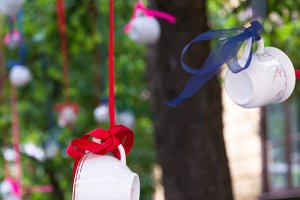 Coffee cups hanging on tree