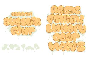 Graffiti Bubbles Font. Vector