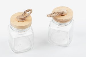 Two glass jar on white background. Isolated. Container.