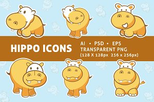 Cute Hippo Icons