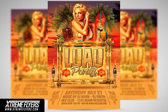 luau party flyer template flyer templates creative market