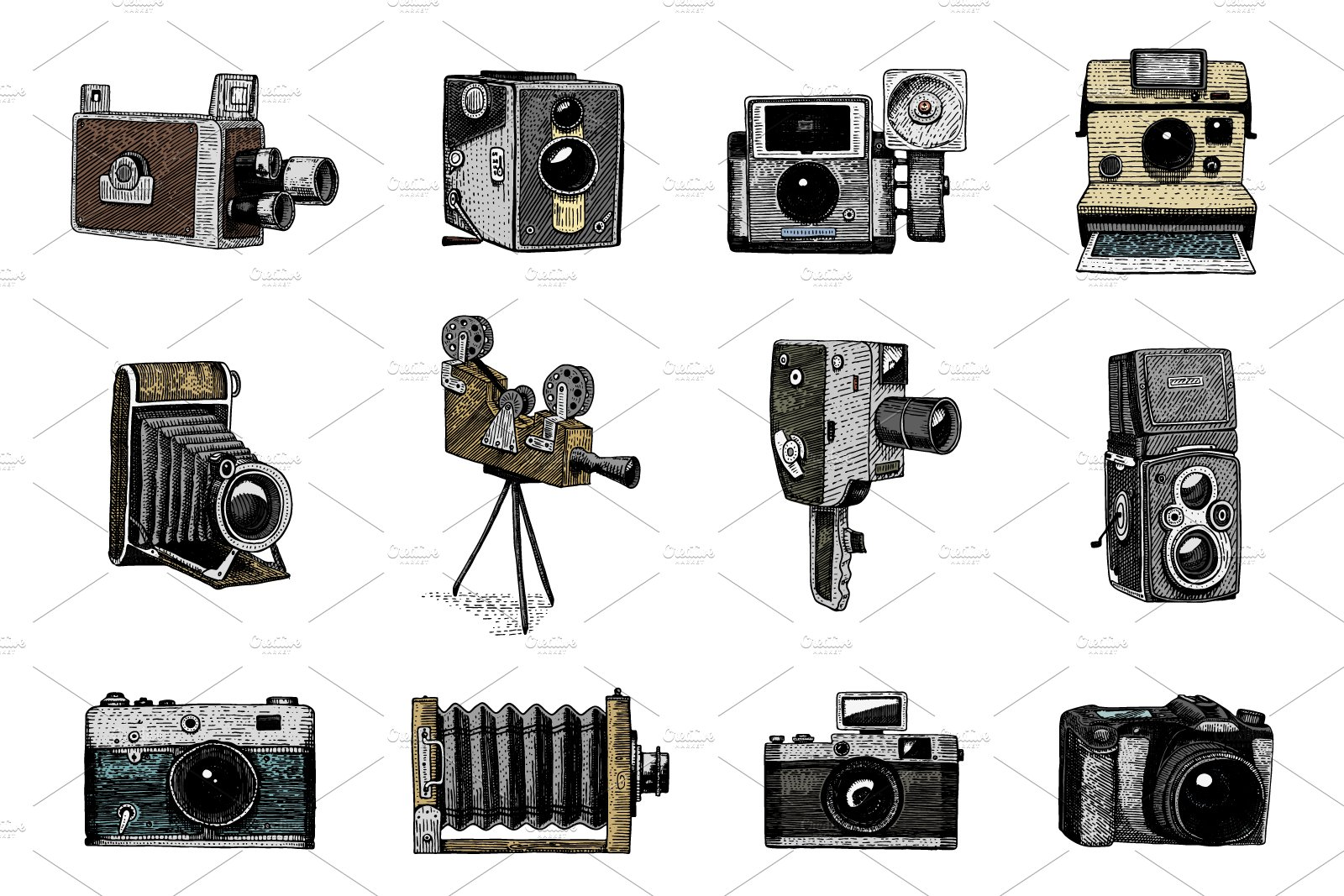 Camera Vintage Vector Free : Photo logo emblem or label video film movie camera from first