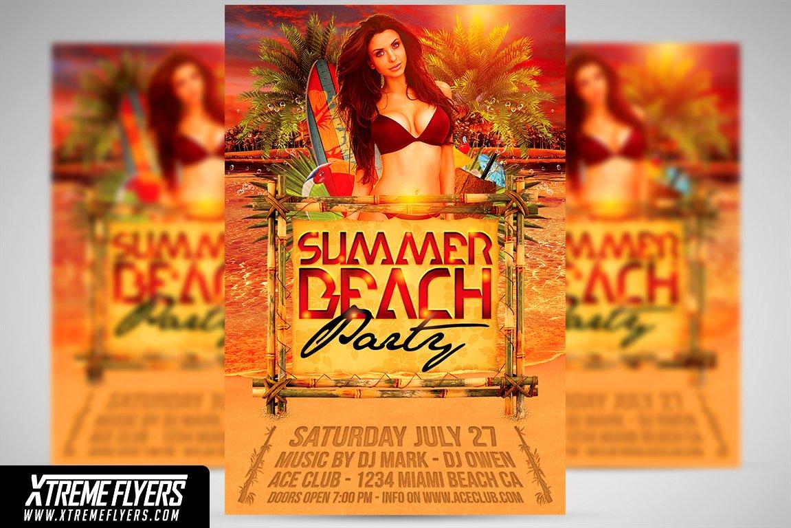 Summer Beach Party Flyer Template Templates Creative Market